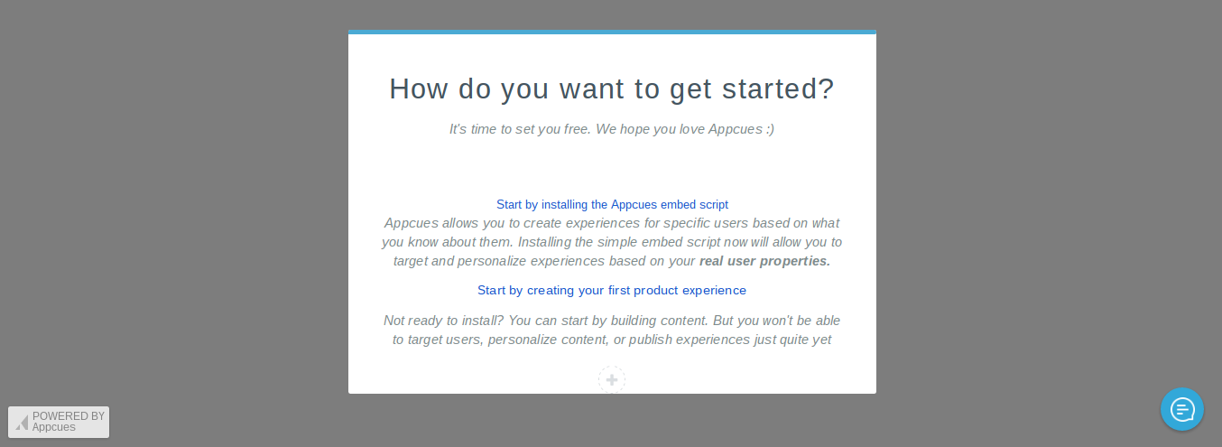 Appcues onboarding old modal