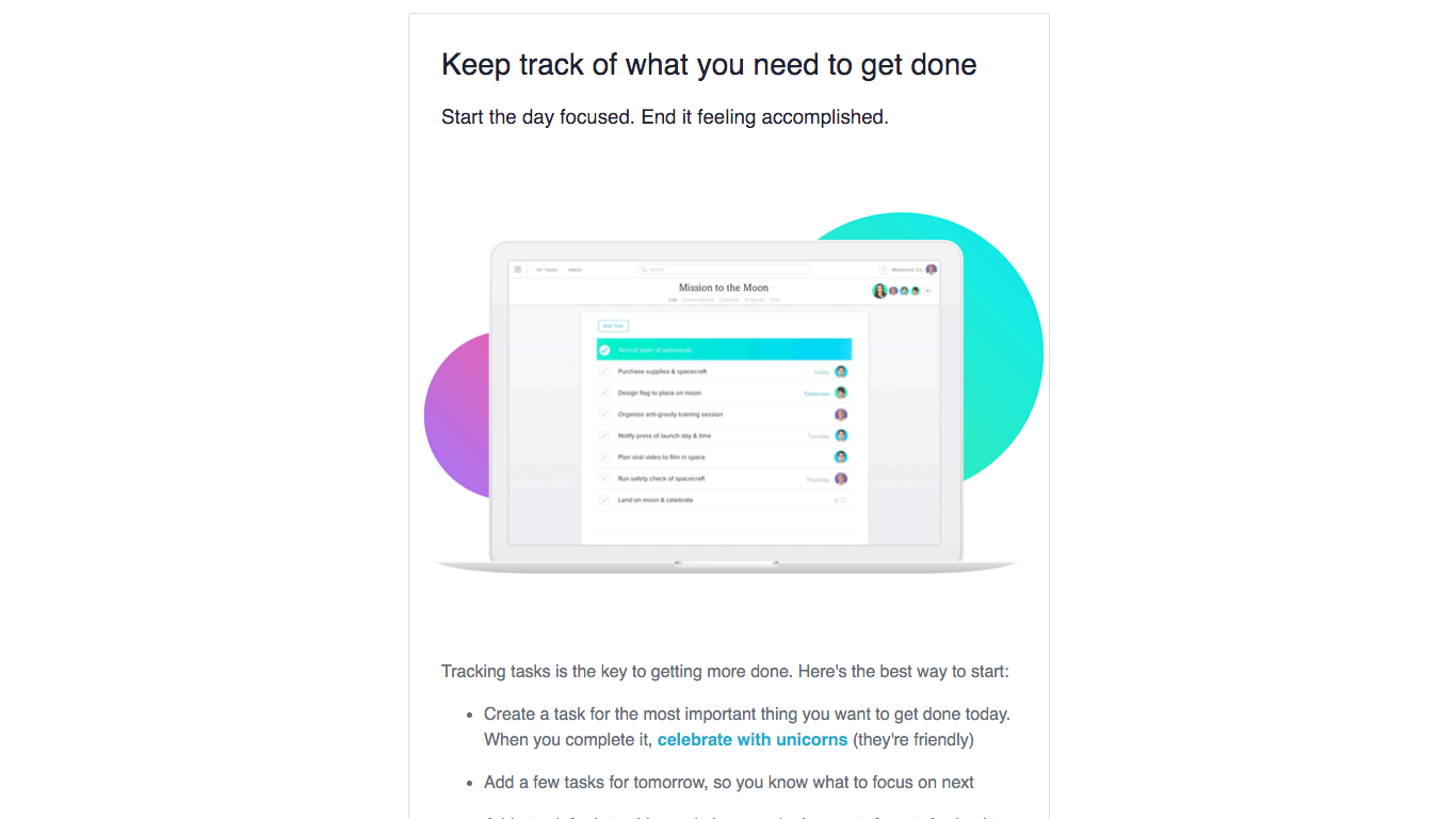 Asana onboarding email 1