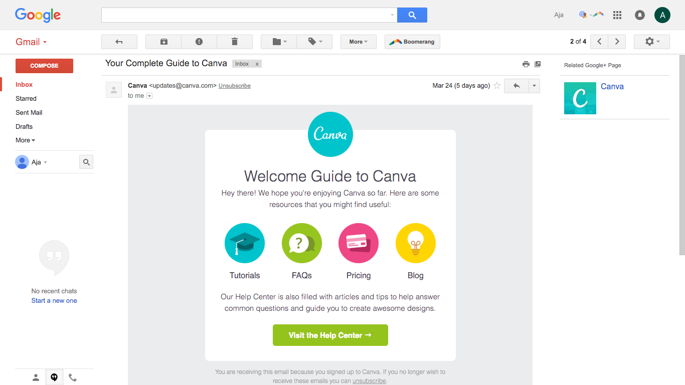 Canva engagement email