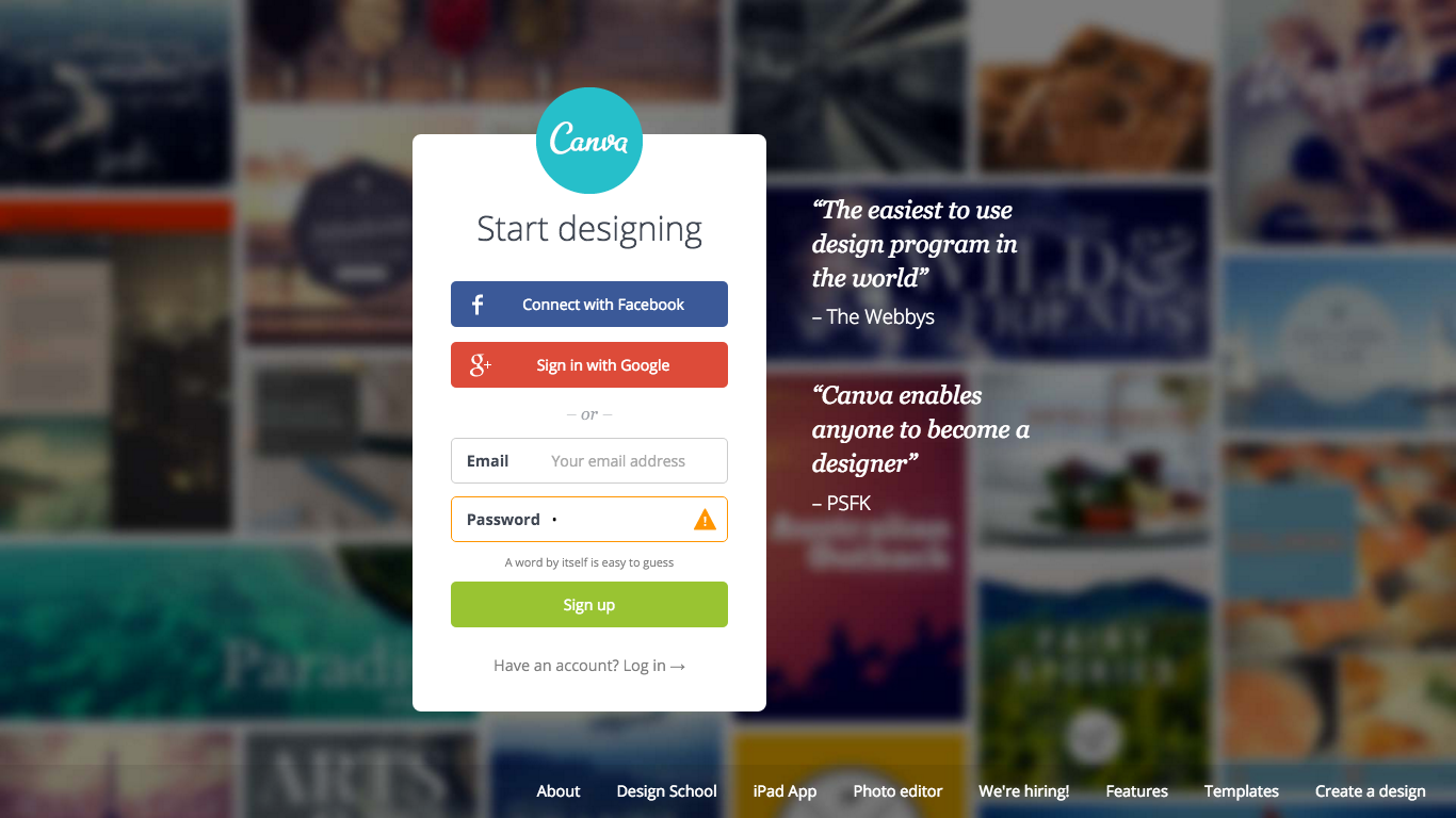 Canva signup form