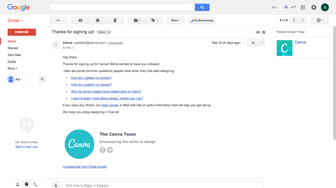 Canva welcome email