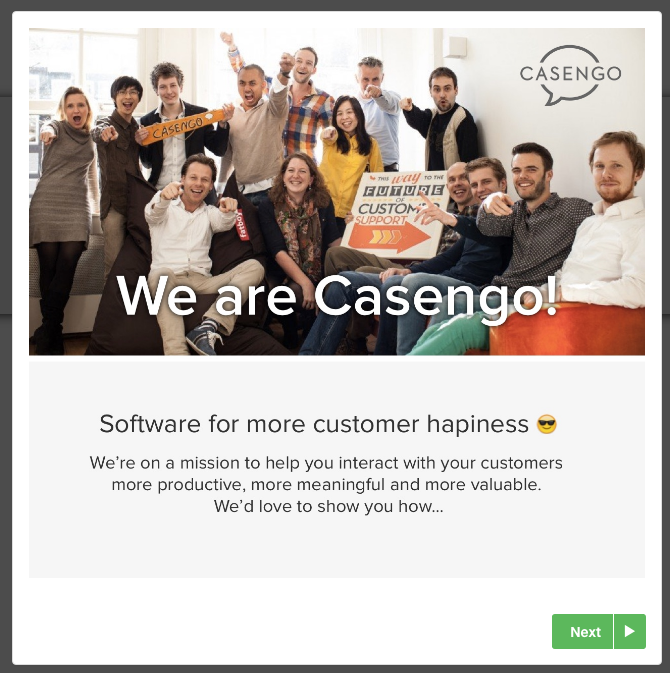 Casengo welcome modal built with Appcues
