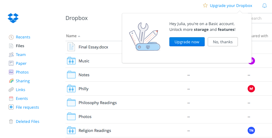 Dropbox upgrade tooltip