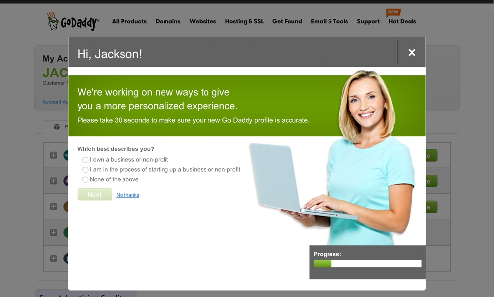 GoDaddy personified user onboarding welcome
