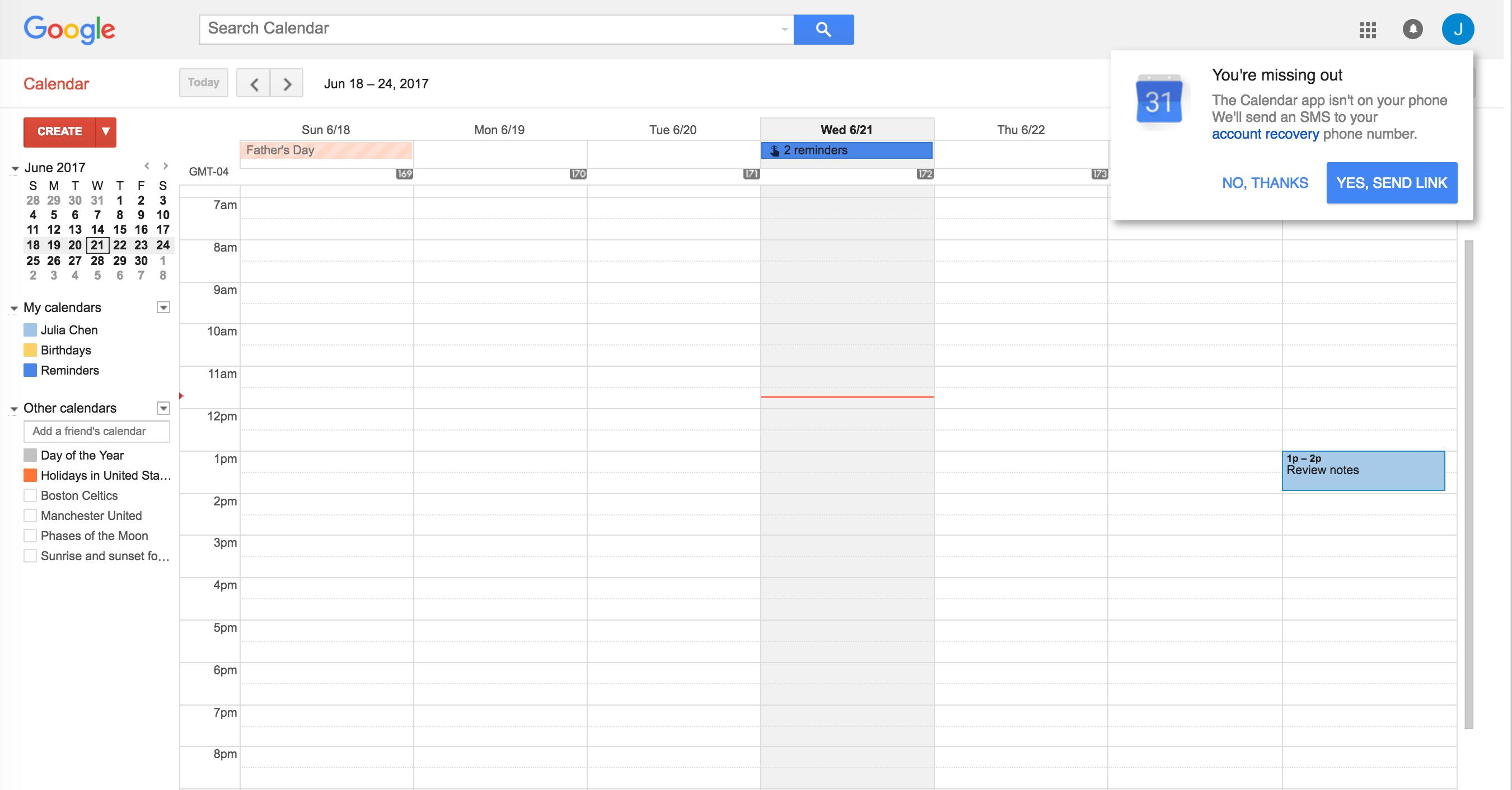 Google Calendar slidoeut