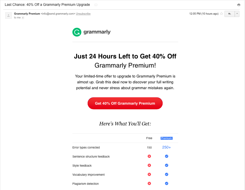 Grammarly upgrade promo