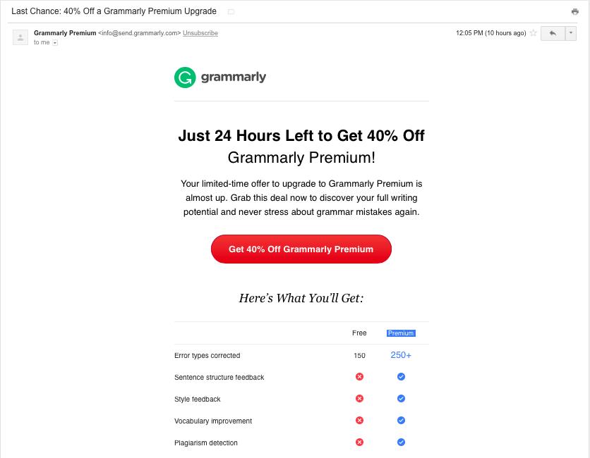 Grammarly upgrade promo