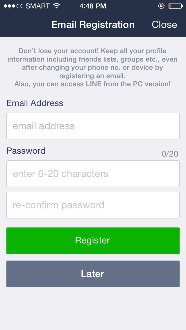 LINE eliminate user onboarding step 1
