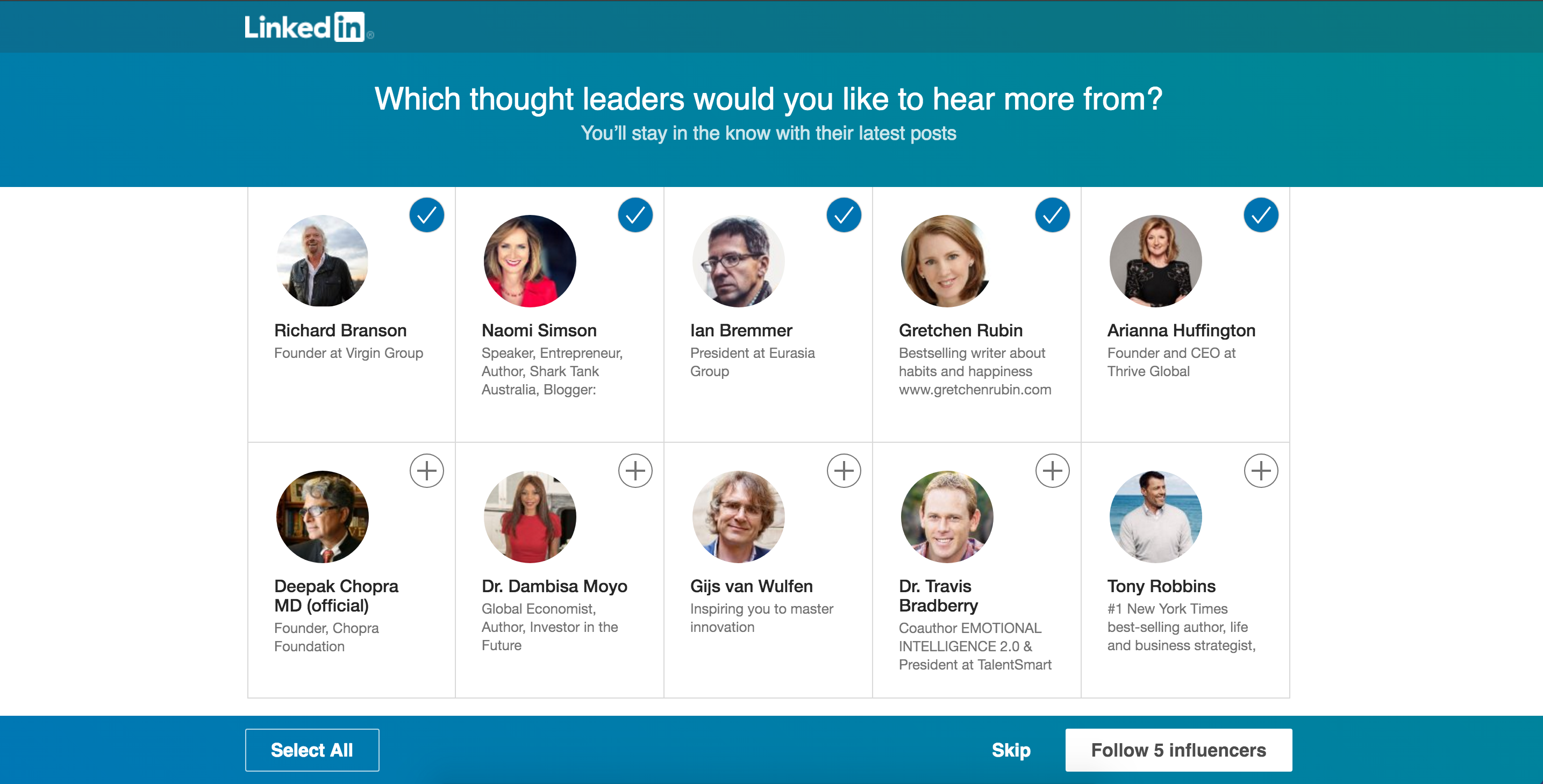 LinkedIn personalization thought leaders onboarding