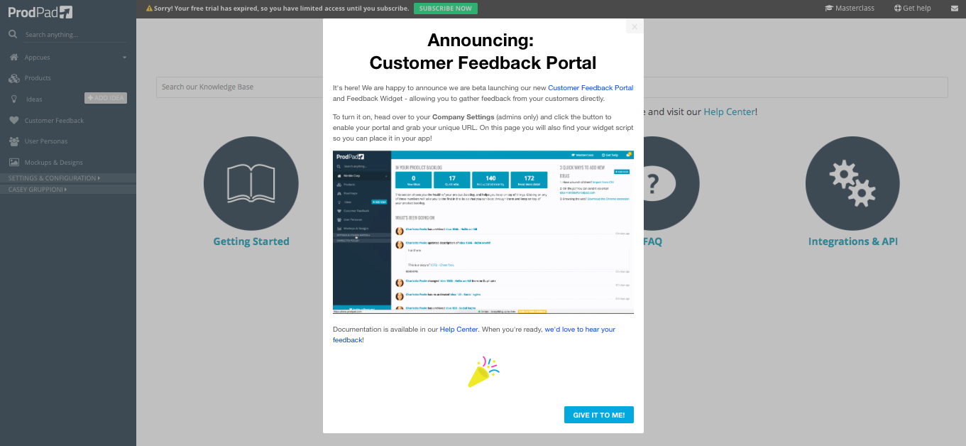 ProdPad Customer Feedback Portal modal