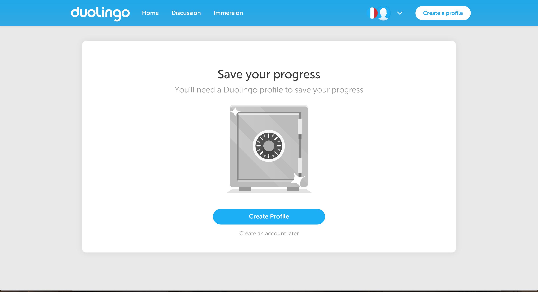 Duolingo user onboarding via deferred account creation to save progress