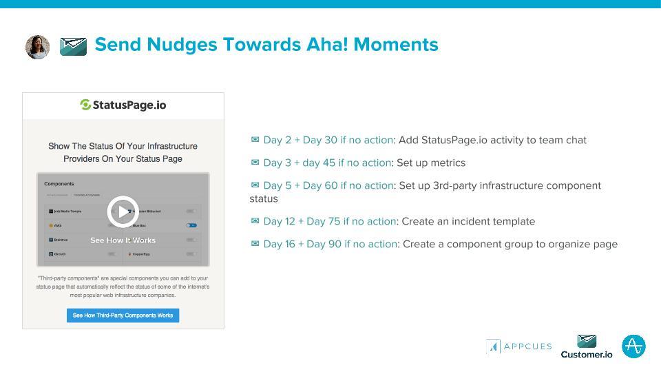 statuspage nudges towards aha moments