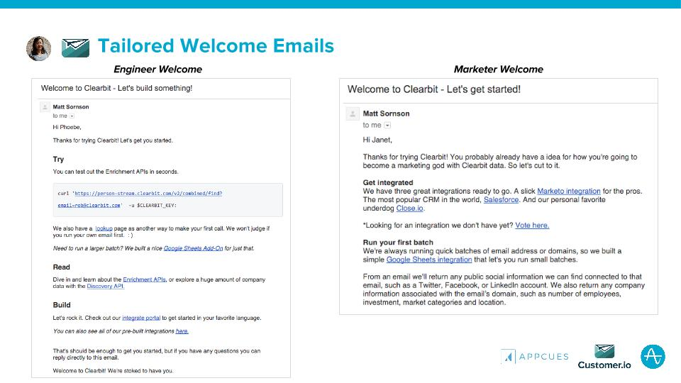 Tailored Welcome Emails