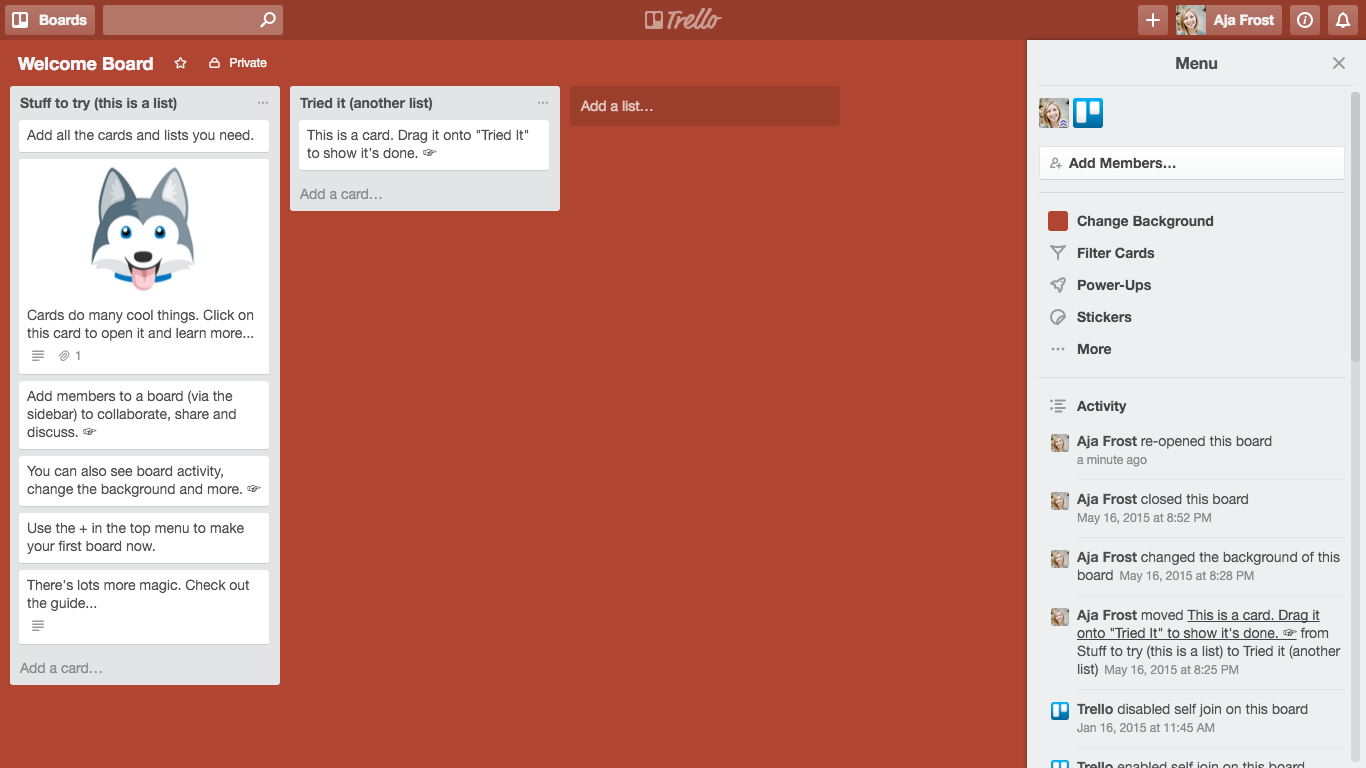 Trello boards user onboarding