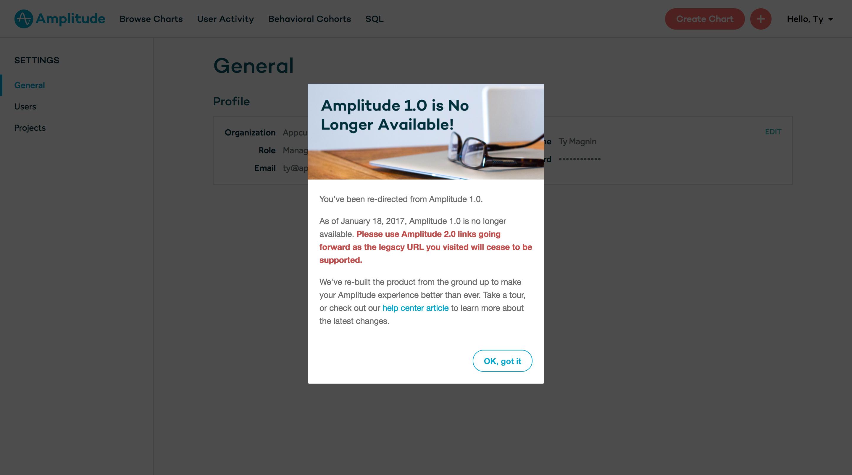amplitude depreciation message modal