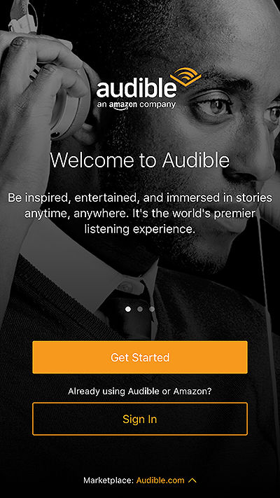 audible mobile onboarding welcome