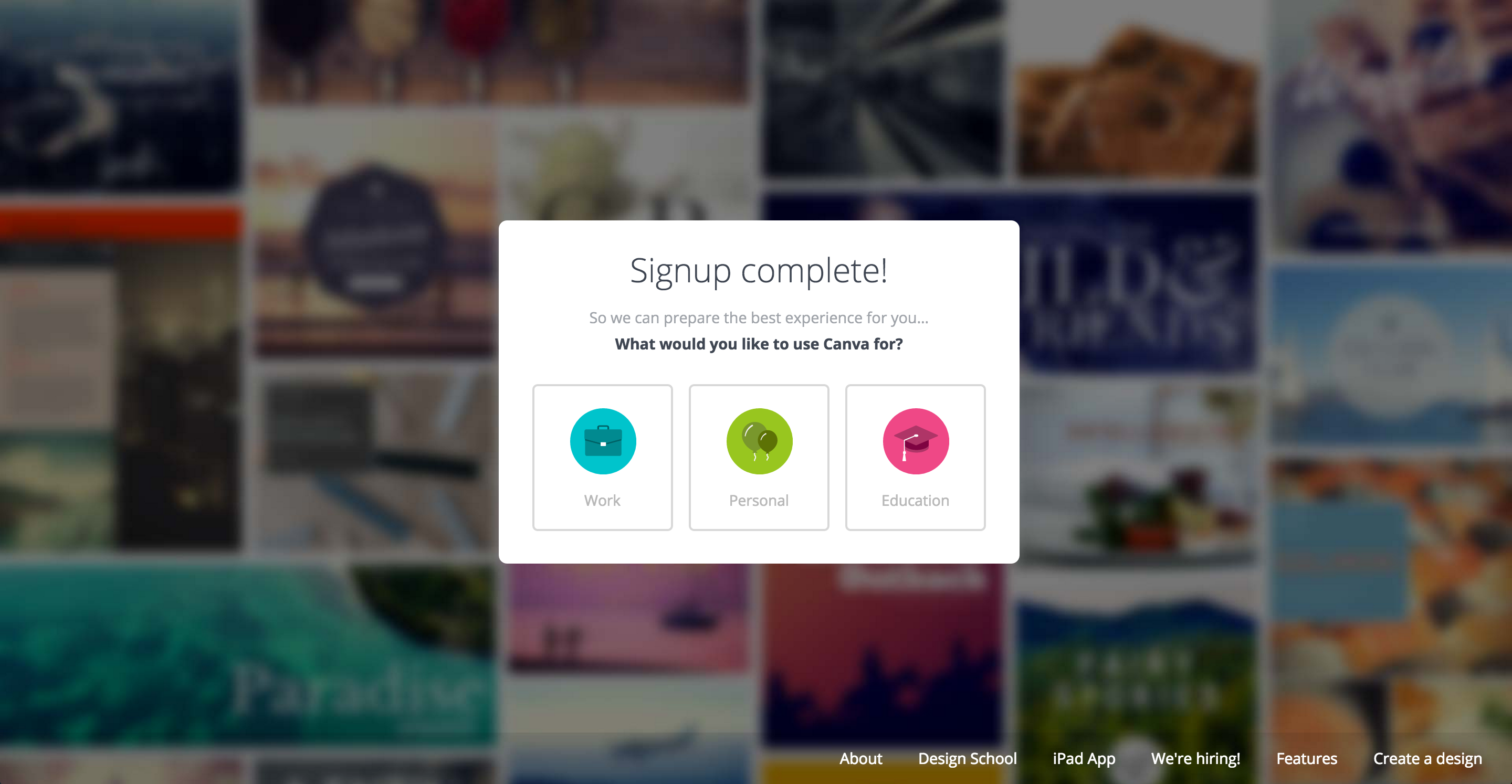 Canva user onboarding by use case
