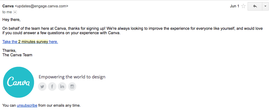 Canva user survey email