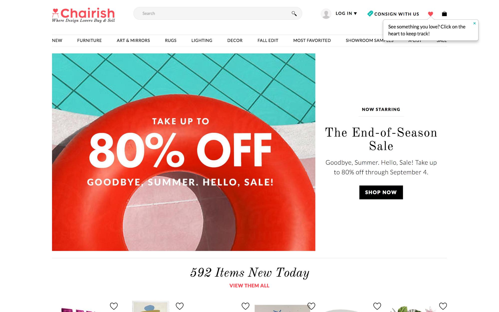 chairish shopping tooltip