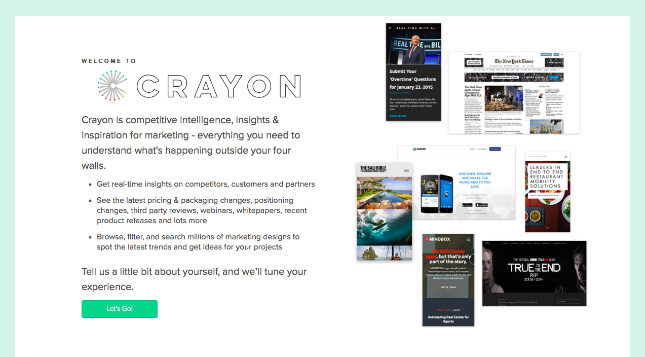 crayon welcome page