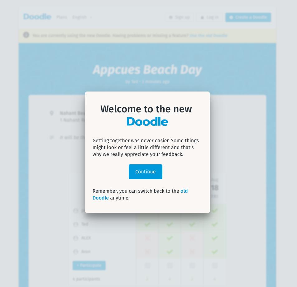 doodle new design modal