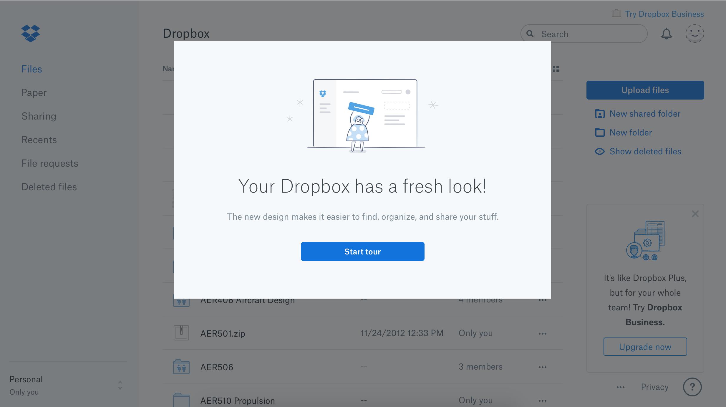 dropbox redesign modal