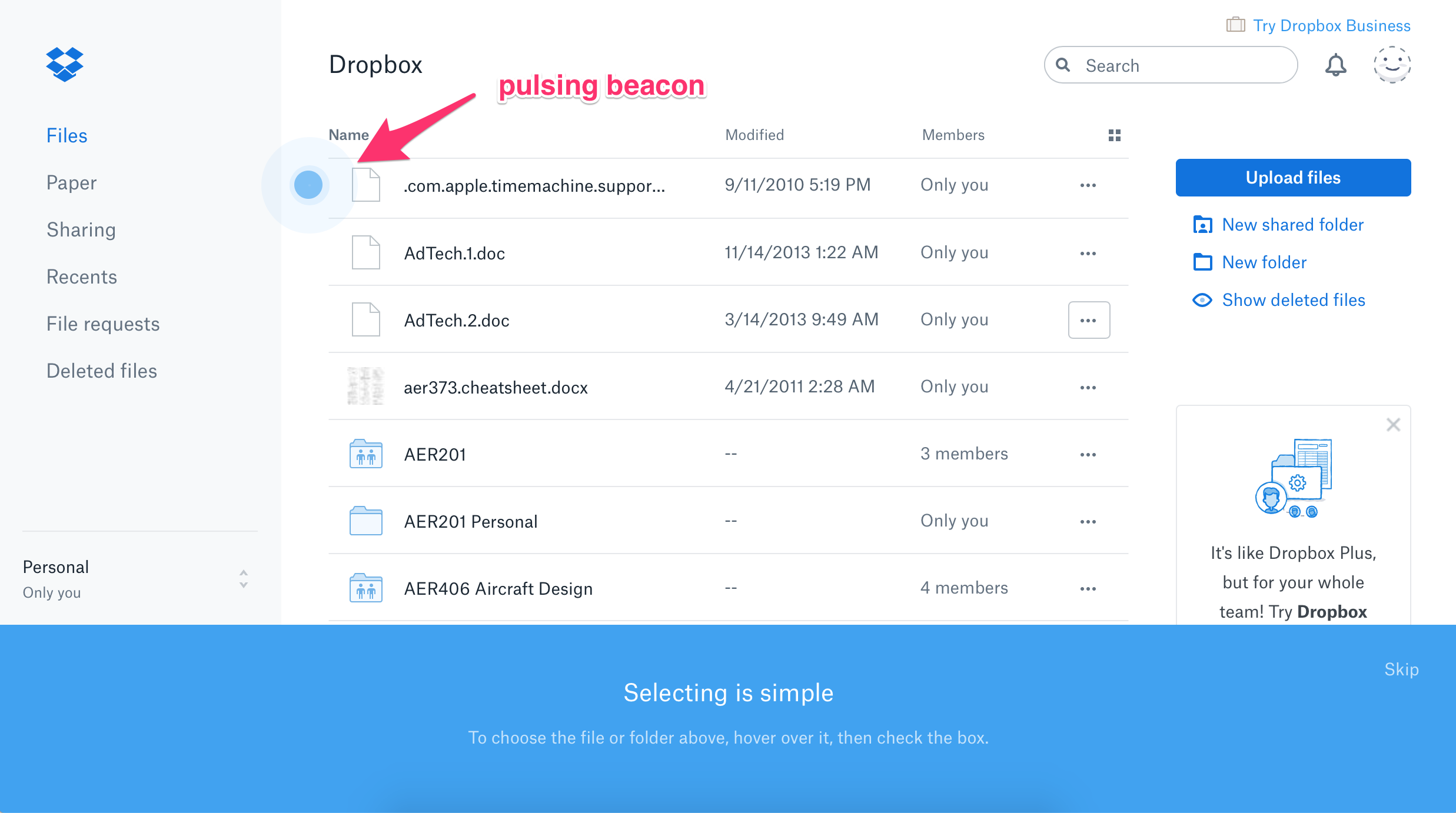 dropbox redesign product tour