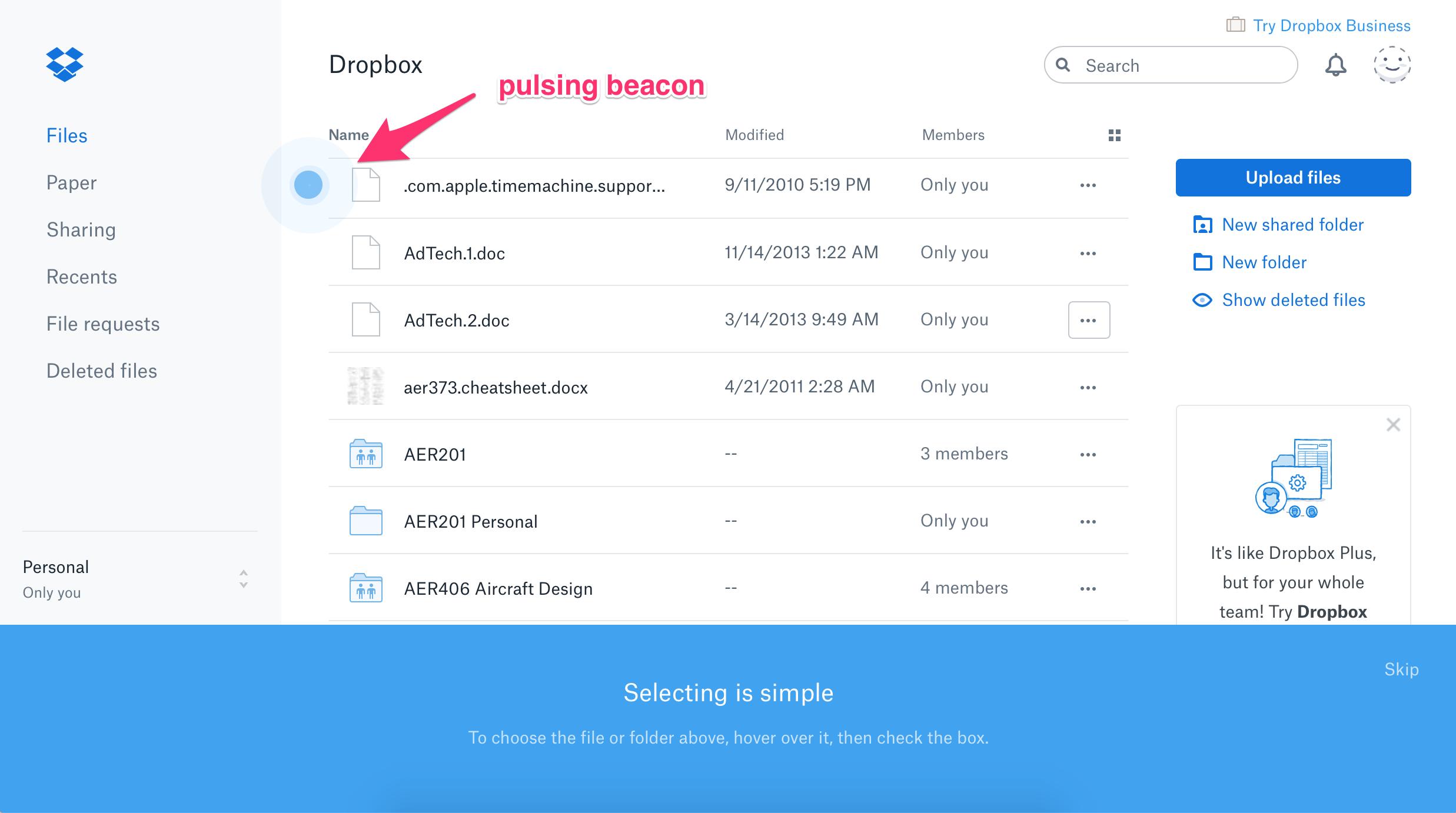 dropbox redesign product tour