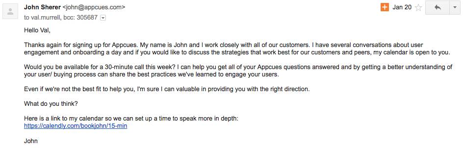 email to get users on a sales demo