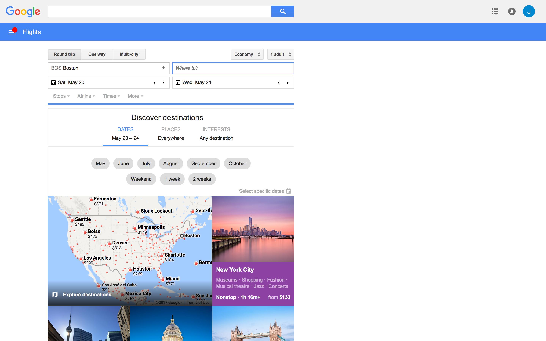 google flights homepage