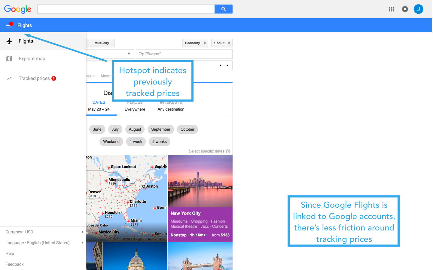 google flights homepage 2-1 hotspots