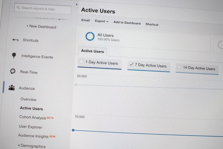 google analytics active users