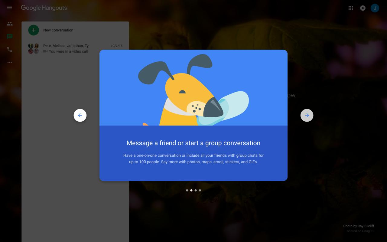 google hangouts modal welcome