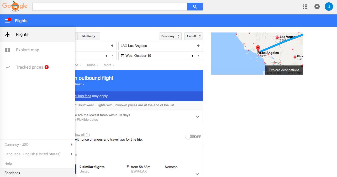 google flights hotspot nav