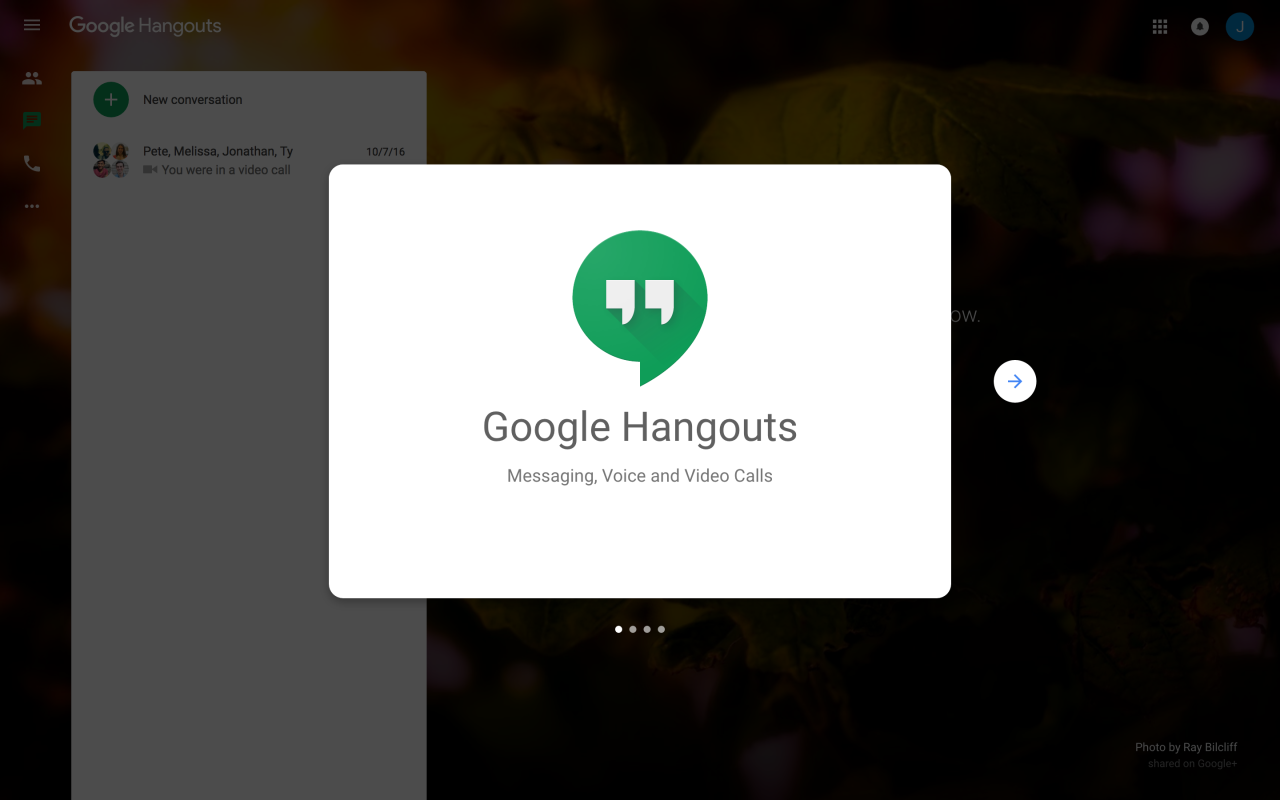 google hangouts modal welcome