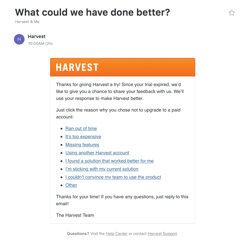 harvest email asking for user feedback