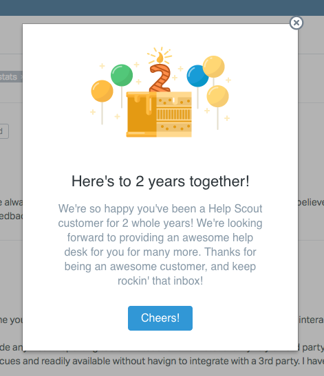 helpscout modal window celebration