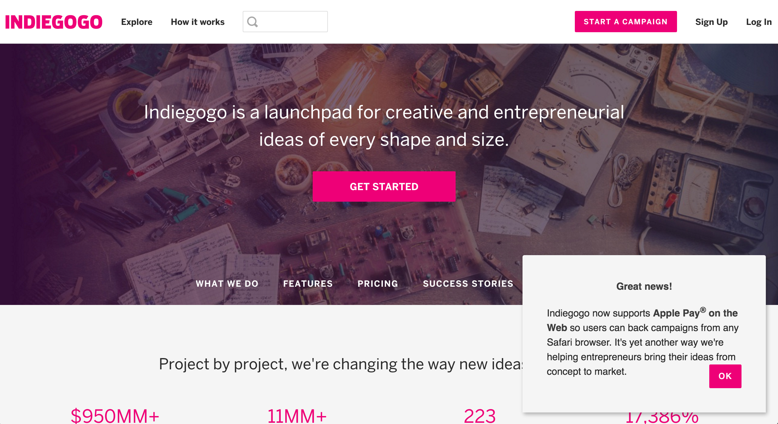 Indiegogo slideout new feature
