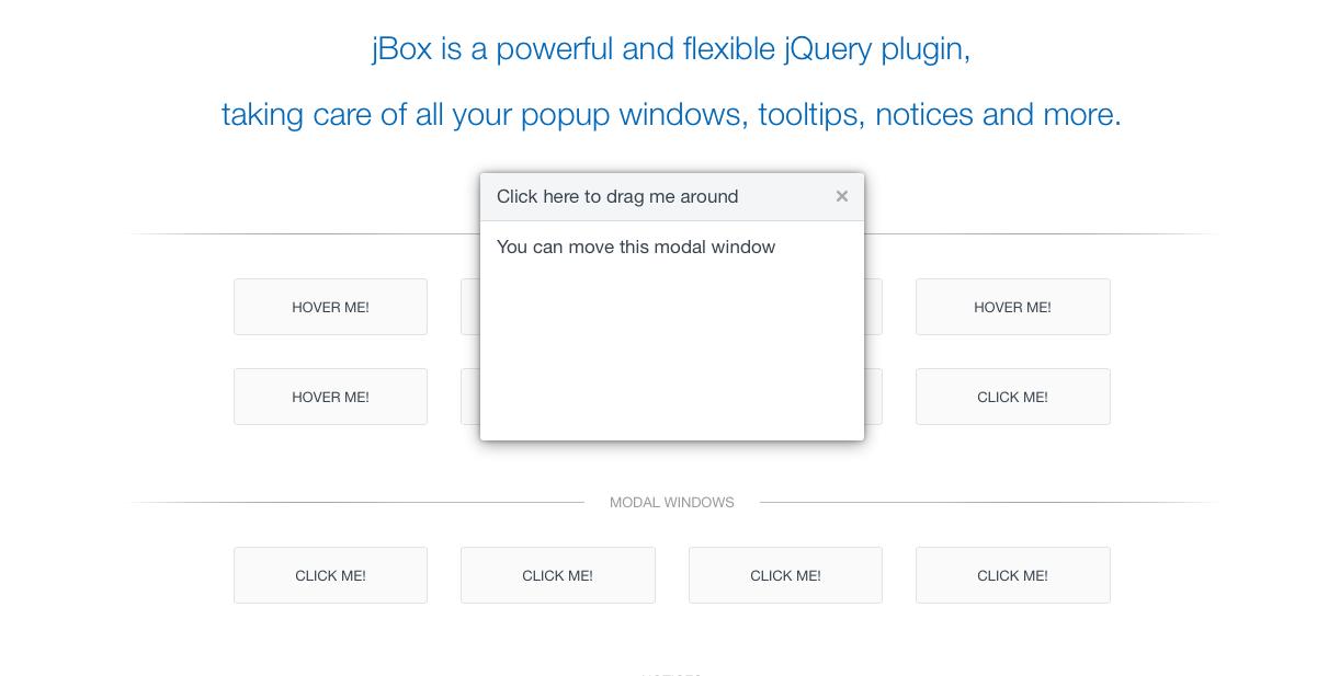 jBox jQuery modal onboarding ux