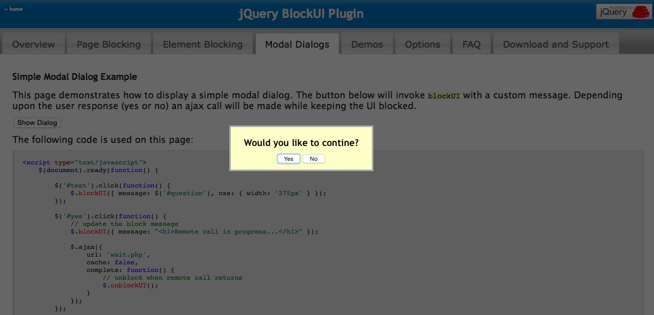 jQuery BlockUI Plugin