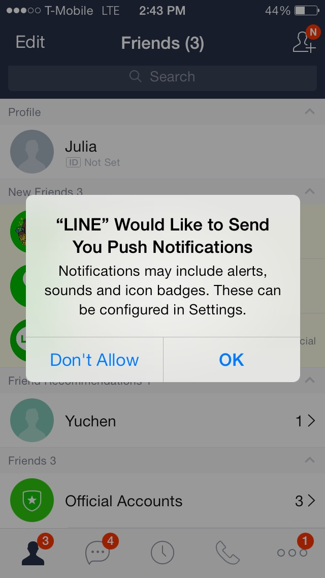 line opt into push new