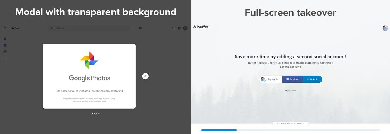 modal window vs full screen takeover