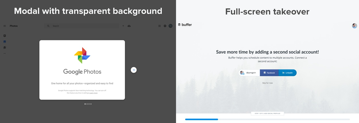 modal window vs full screen takeover
