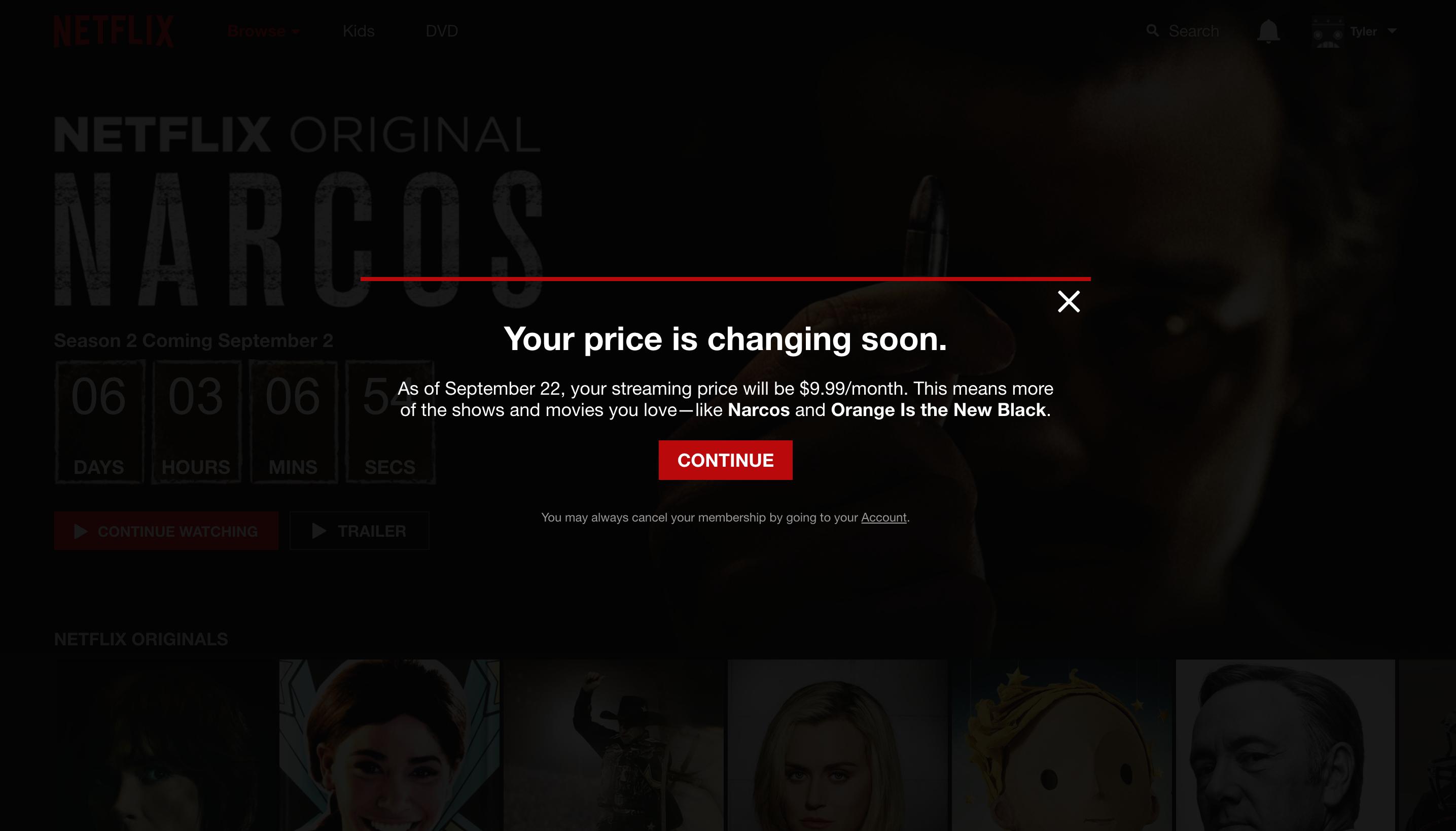 Netflix pricing fullscreen
