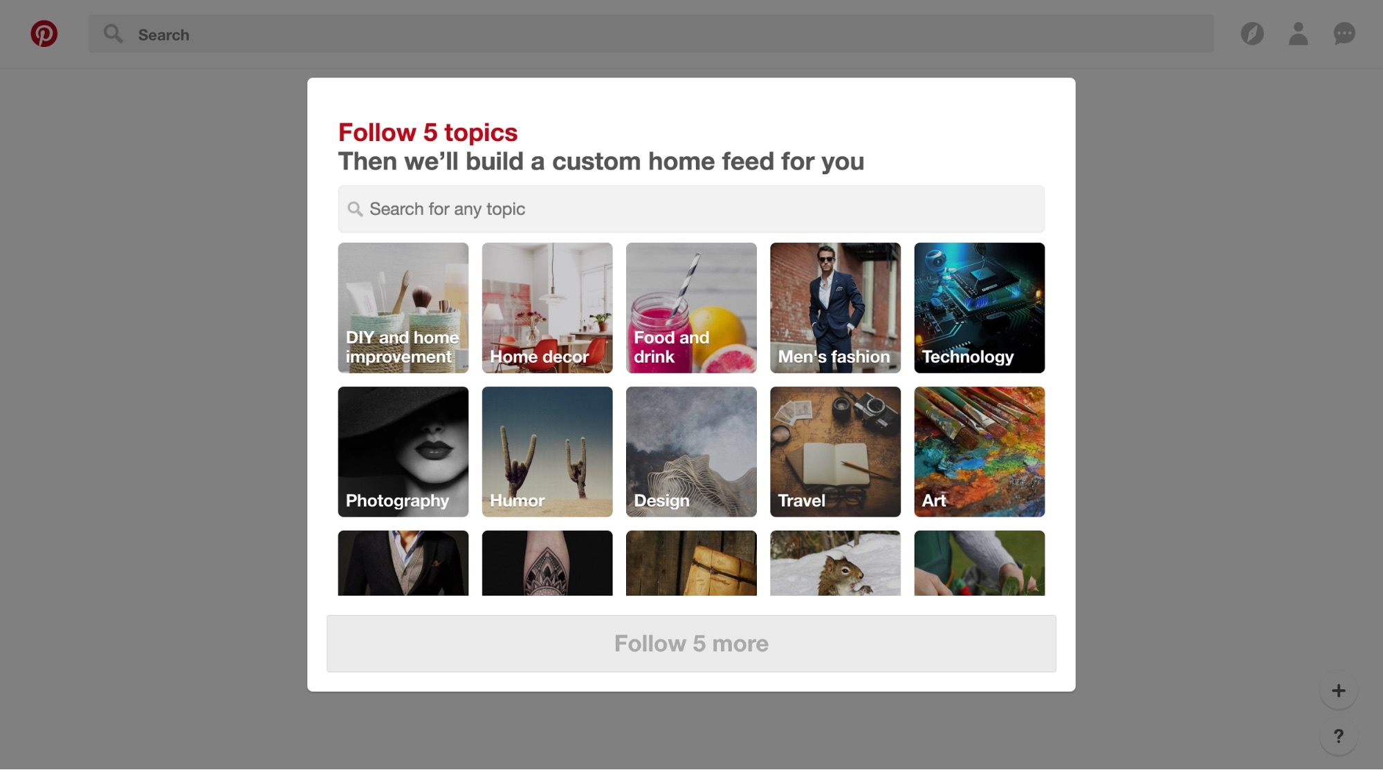 pinterest personalized onboarding feed