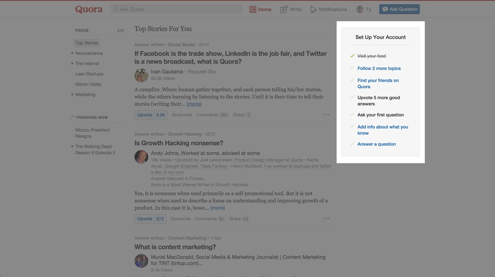 Quora checklist user onboarding ui patterns