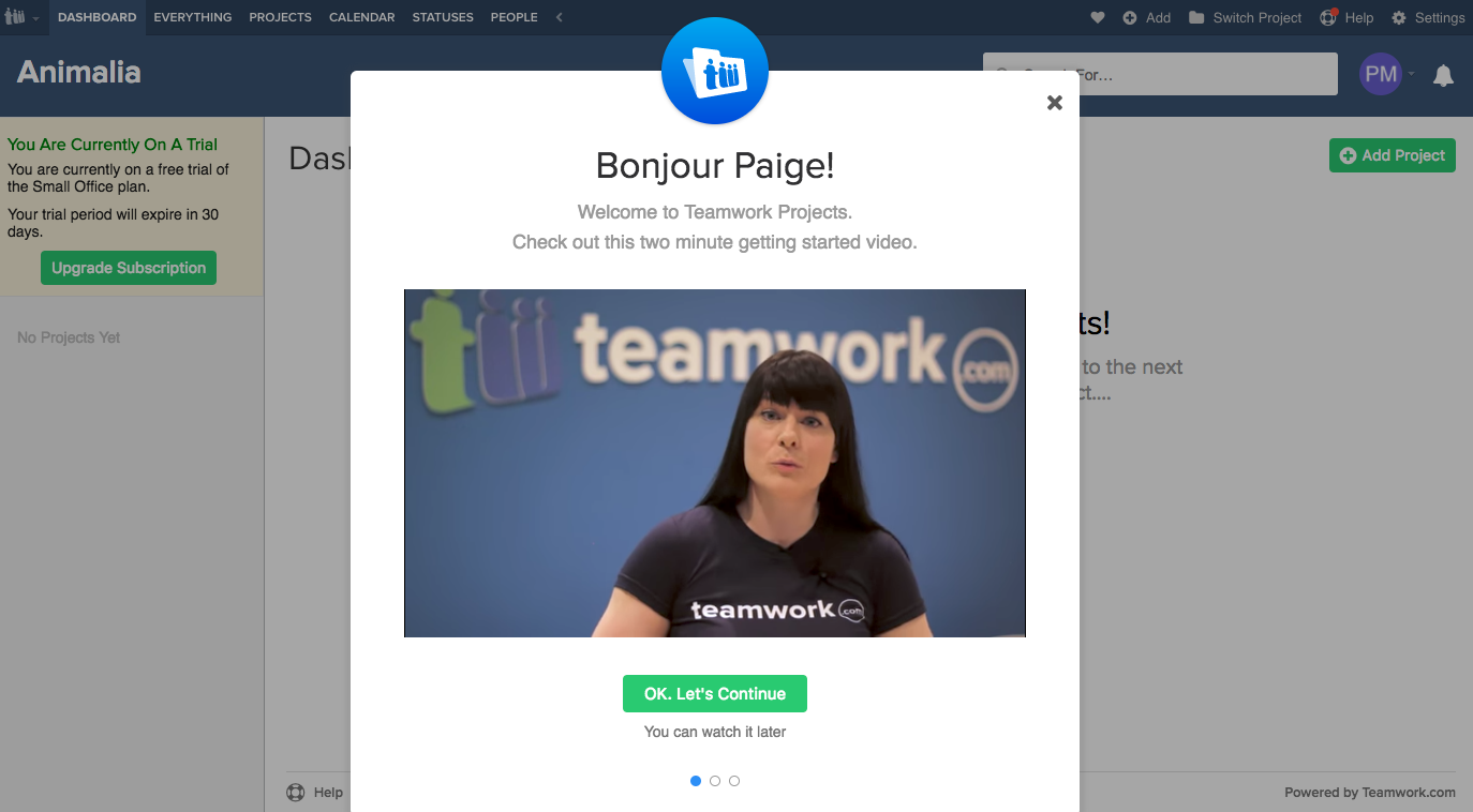 teamwork projects web onboarding