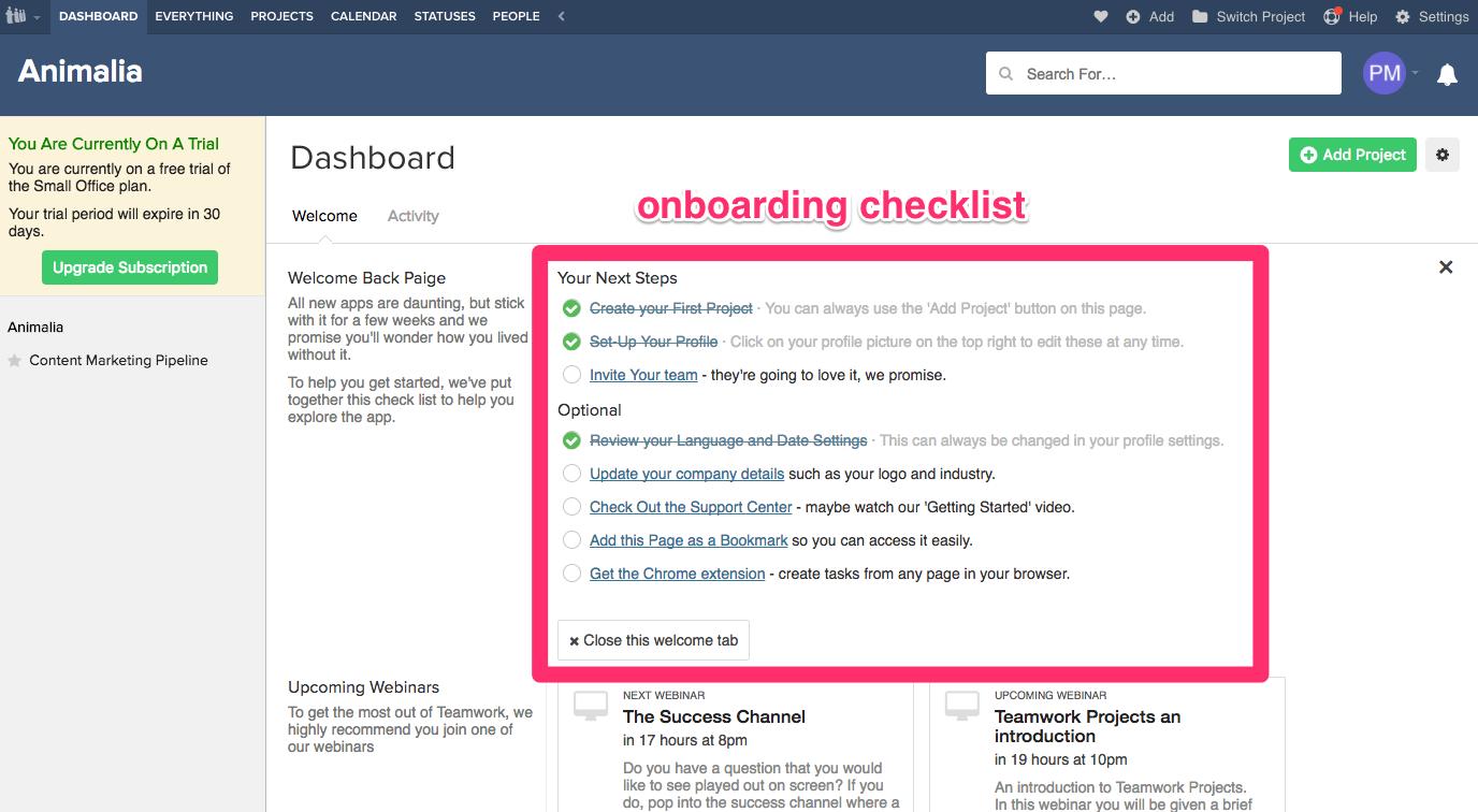 teamwork projects web onboarding