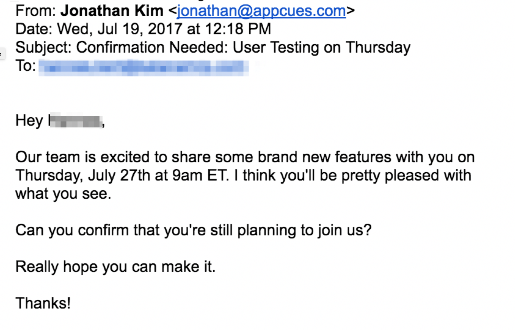 user testing email confirmation
