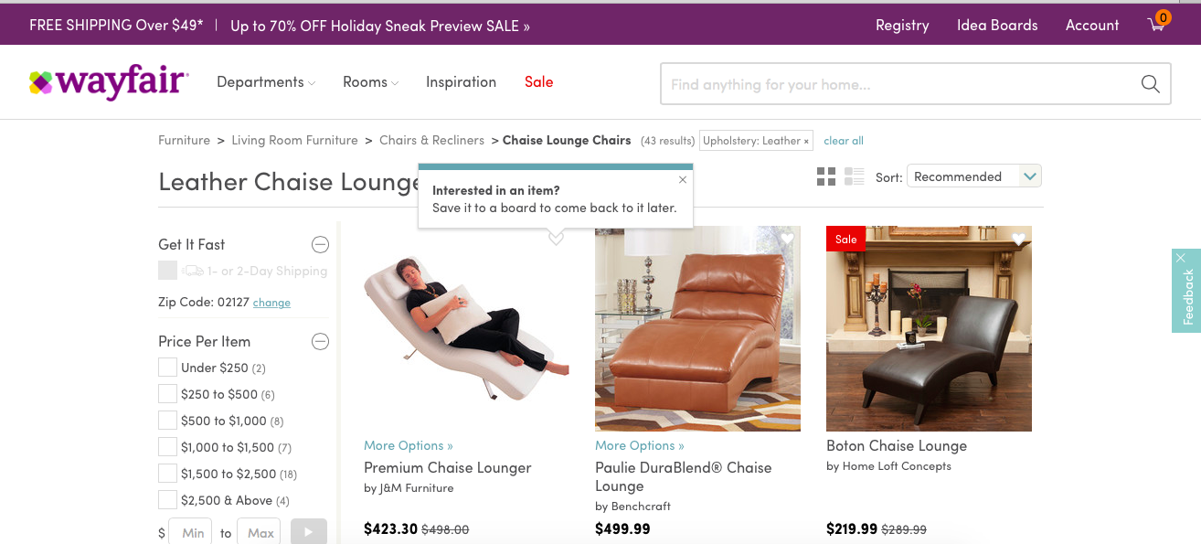 wayfair shopping tooltip
